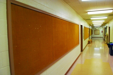Greenlawn contains empty hallways and bulletin boards. Preface photo/NICK WORT