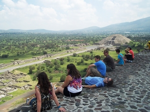 Students on the top of the pyramid of the sun at Teoihuacan Photo courtesy of Elaine Roth