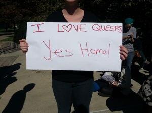One of many signs students made for the impromptu protest.