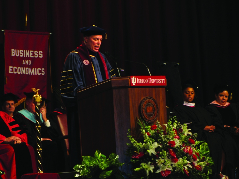 Chancellor Terry Allison gave his installation address in the Student Activities Center  Provided/Communications Office, IU South Bend