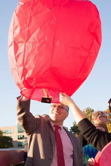 Chancellor Terry Allison with his lantern.  Preface photo/NATALIE MILLS