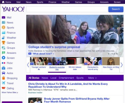 A snapshot of Yahoo's homepage featuring the viral video. Yahoo is frequented by millions of users each day. photo via/Cody Clemons