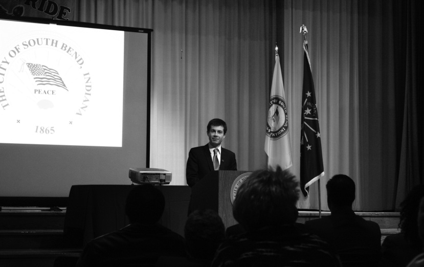 Pete Buttigeig giving the State of the City address. Preface photo/MANDI STEFFY