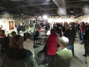 A crowd gathes in the Art Gallery for the Local Perspectives exhibition tied to the book. Preface photo/BEKKA OXLEY