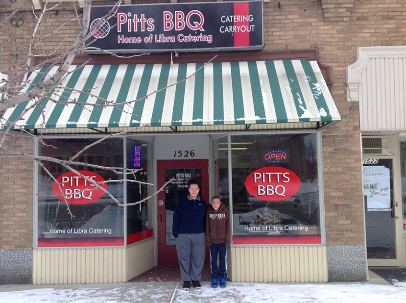 Pitts BBQ is a few blocks away from IU South Bend in River Park. Pictured are Alexandra and Michael Pitts, children of Chef Robert Pitts. (Preface photo: Ryan Lohman).
