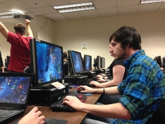 Nick Worsham (right) and Mike Moran (left) partake in a  League of Legends gaming session in Northside. (Preface photo/GEOFF LESAR)