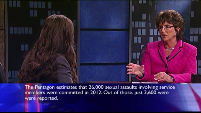 Indiana's 2nd Congressional District representative Jackie Walorski speaks politically with Elizabeth Bennion. (Screenshot credit: WNIT)