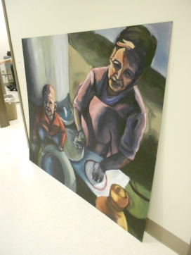 A painting entitled Clean Up created by drawing and painting major Katherine Corpe. (Photo/Melissa Seyboldt)