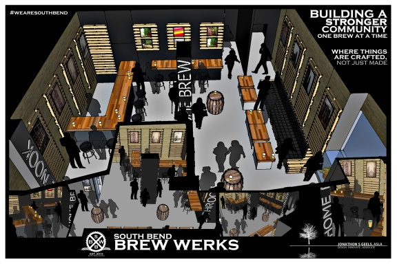 A digital rendering of the South Bend Brew Werks floor plan design of the new brew pub. Provided/Jonathon Geels