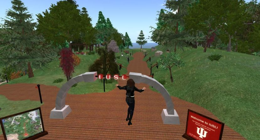 A screenshot of Professor Jane Cera's avatar at the IU Second Life Campus Gate. Cera is using the Second Life program to help teach her visual culture course.