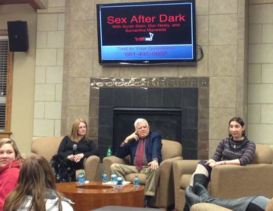 "Sorah Stein, Don Neely and Samantha  Manewitz answered  students' questions about sex submitted via text at Wednesday's ""Sex after Dark"" event in student  housing.  (Preface photo/ GEOFF LESAR)"