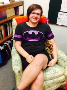 Lexi Millard (@BrazenAndQueer)takesit easy in the gender studies loungeof Wiekamp Hall. Photo Credit: Leslie Lestinsky