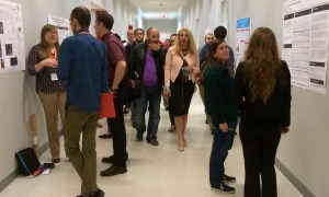 Poster presentations line the walls of the South Wiekamp Hall where students talk about their research endeavors with guests Friday, April 17, 2015. Preface photo/Bri Schmitt