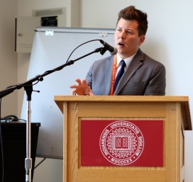 Prof. Jamie Smith, Assistant Professor of Political Science and Undergraduate Research Conference Chair, congratulated students on their hard work and accomplishments during the luncheon Friday, April 17, 2015. (Photo/ Sarah Cawthon).