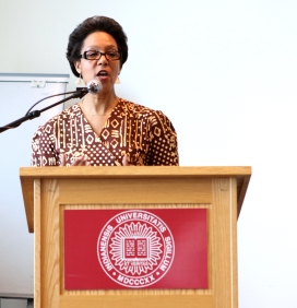 Executive Vice Chancellor for Academic Affairs, Jann Joseph, spoke about her excitement for undergraduate research and congratulated students on their accomplishments during the luncheon Friday, April 17, 2015. (Photo/ Sarah Cawthon)