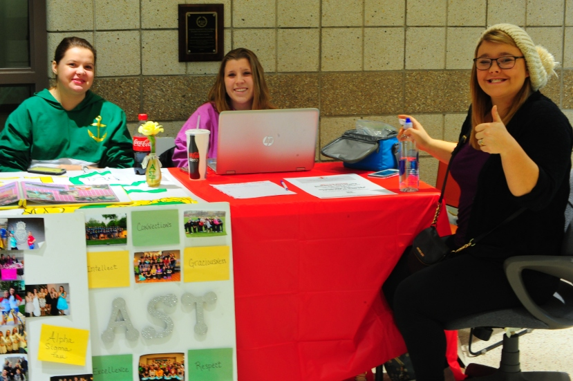 Alpha Sigma Tau sorority sets up table in Wiekamp to recruit new members. Photo Credit/Michael Montana