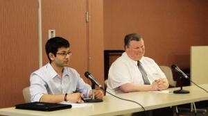 SGA Presidential Candidates Shail Bhagat and Steven Salisbury participate in the SGA debate