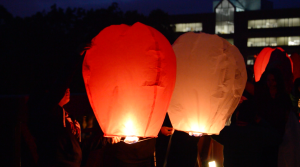 Students lighting off the now-illegal lanterns at last year's Wish with the Chancellor event. Photo/Sarah Whitehead