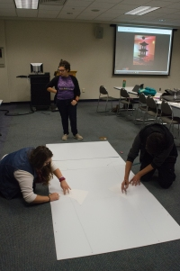 Members of the Japanese club work on creating an activity for Boo to You. PHOTO/Leah Fick