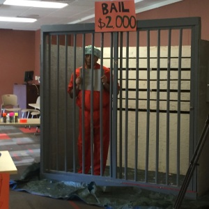 Professor Anurag Pant is in jail at the ACMC November fundraiser. Photo/ALEX HUMPHREY